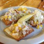 Ceviche on Wontons - so good!