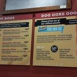 The tasty hot dog menu