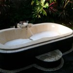 Outdoor bath in our private courtyard area