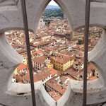 This is from the tower- Emozioni B&B is just behind the yellow building