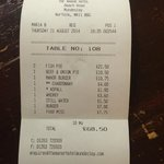 Initial bill for four people (included 2 fish pies sent back)