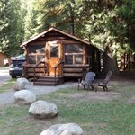 The outside of the cabin.