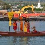 King Kamehameha's royal court enters by canoe