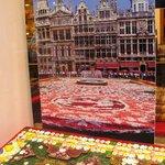 Flower carpet in chocolate in a shop window in Les Galeries Saint Hubert