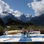 Patio with mountain view