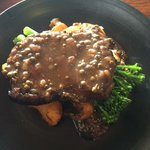 Porterhouse steak with pepper gravy