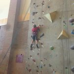 One of the many routes on the rock climbing wall that can be enjoyed during your stay