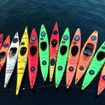 View of kayaks from restaurant upper deck