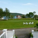 View from porch of grounds and Bras D'Or lake