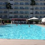 swimming pool at the front of hotel