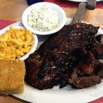 Ribs & steak tips w/ coleslaw, Mac & cheese, and corn bread!!