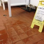 Roof leak, women's bathroom