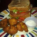 Our Triple Decker Fried Bologna Sandwich served with a side of our Famous Squash Puppies! YUM!!