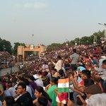 The patriotic crowd enjoyed the ceremony
