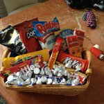 Gift basket from housekeeping for finding 2 dirty comforters on our beds our first night here