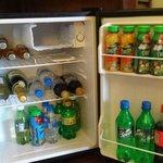 Fridge stocked daily with juices, water, wine, soda, etc