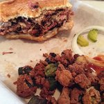 Pulled pork sandwich and fried okra