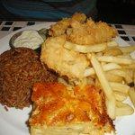 Grouper Fingers, Peas n Rice,Mac N Cheese, and Fries