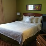 Queen bed. TV swiveled toward sofa and bed.