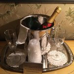 Complimentary sparkling wine