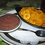 Banana Chips with Bean Dip..Delish