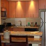 Well supplied kitchen. Medium size fridge and freezer.