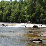 People playing in lower falls