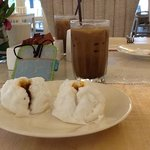 Mmm BBQ Pork Buns and Iced Coffee for Breakfast