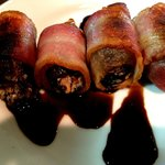 Bacon wrapped, goat cheese stuffed dates