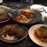 "Selection of Small Plates: Polenta, tomato & feta baklava, zucchini ""balls"" and wrapped feta wit"