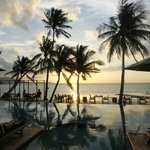 hotel public pool at sunset
