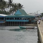 The seafood restaurant next to the pier at Ham Ninh Fishing Village