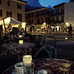 A late evening coffee at the Piazza