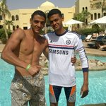 With my brother on the pool