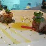 Couples of tartare beef and snapper
