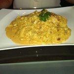 Tagliatelli with prawns in a spicy cream sauce