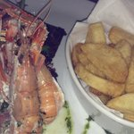 Isle of Skye prawns with salad and chips