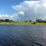 Sailing past Clonmacnoise, former religious capital of ireland