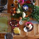 nos préparatifs après le marché pour le cours de cuisine