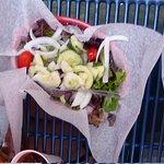 Salad in a basket.