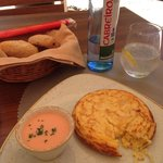 Potato tortilla with salmorejo on the side (had to take a quick bite before the photo!)