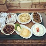 Our meal, traditional greek food: seafood, cheese, sauces and more