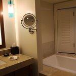 bathtub with peekabo window