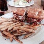 Meatball panini with fries