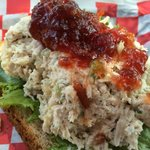 open face chicken salad with orange-cranberry relish!
