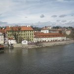 View of the Franz Kafka Museum, from Charles Bridge (Karluv Most)