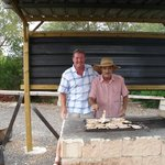 My husband with 'Juan' who cooked the meat for our barbecue.