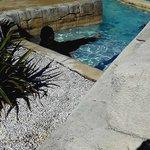 Femme voilée dans la piscine