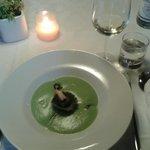 apple soup with crab ravioli