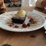 Chocolate brownie with pistachio ice cream - tasted ok but not worth £7